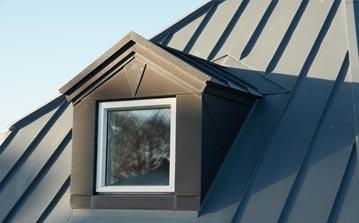 Dark metal roof with keylite window