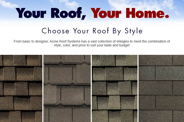 Image of different types of roof shingles and text