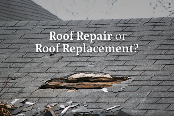 "A roof with a large hole and other damage beneath the words ""Roof Repair or Roof Replacement?"""
