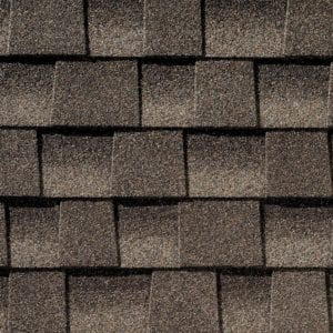 Close up photo of GAF's Timberline HD Mission shingle swatch