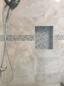 Close-up of newly installed shower tile