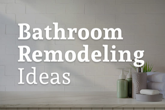 Soap and lotion are sitting on a bathroom sink with the words, bathroom remodeling ideas.