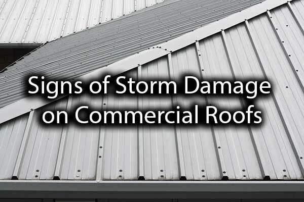 "Metal commercial roofing with the words, ""signs of storm damage on commercial roofs."""