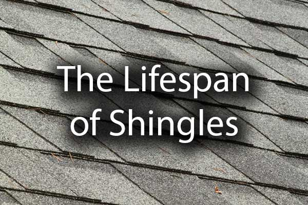 "A close up of a shingled roof with the words, ""the lifespan of shingles."""