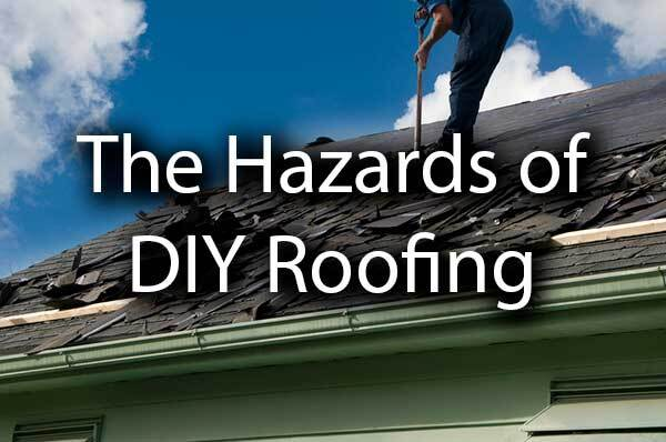 "A man standing on a damaged roof with the words, ""hazards of DIY Roofing."""