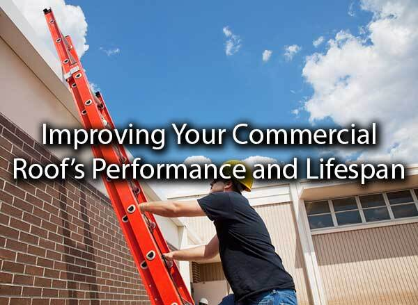 "A roofer about to go on the roof with the words, ""improving your commercial roof"